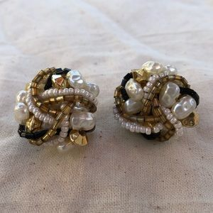 Vintage 1960s beaded button earrings